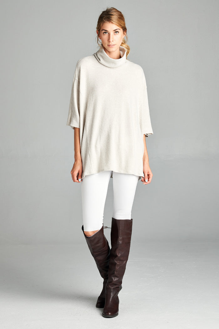 Olivia Hacci Poncho Top : Heather grey
