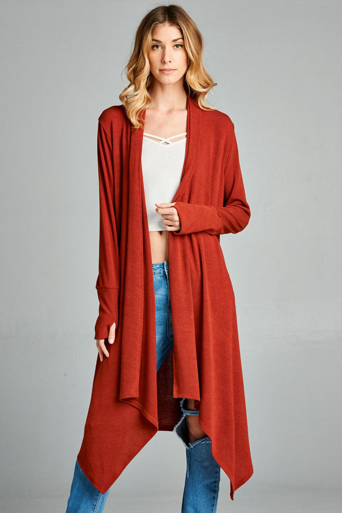 a open drapes women hem stylish light flaunts wuohknf p extended sweaters very and an for cardigan splendid front c drape jersey