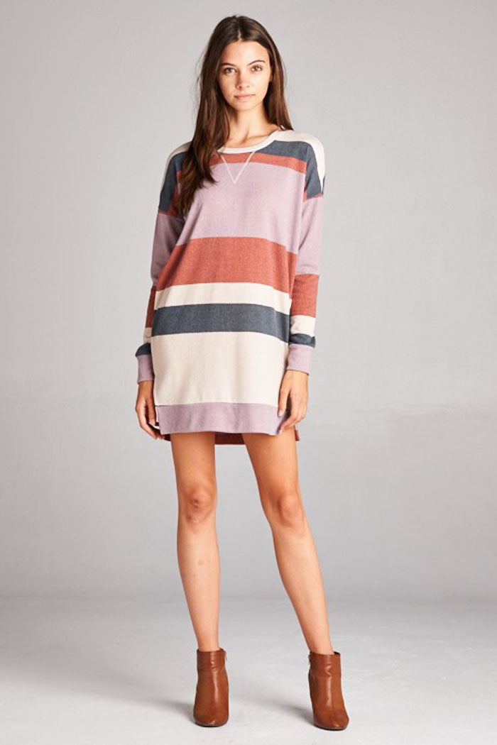 Aurora Color Block Tunic : Lilac/Charcoal
