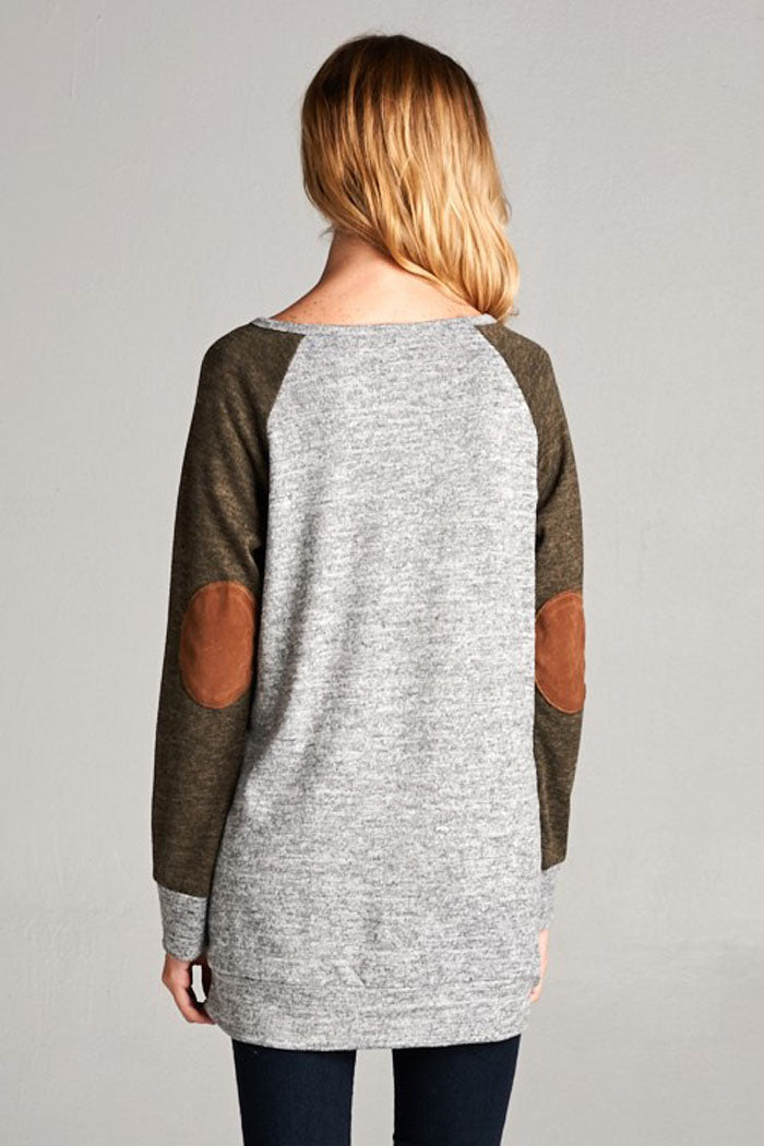 Two Tone Baseball Top - Heather grey/Olive