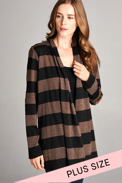 Hacci Striped Cardigan : Black/Mocha