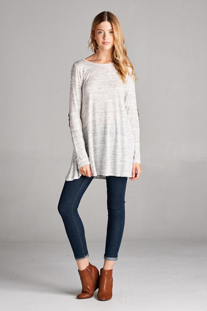 Naomi Solid Knit Top : Heather grey