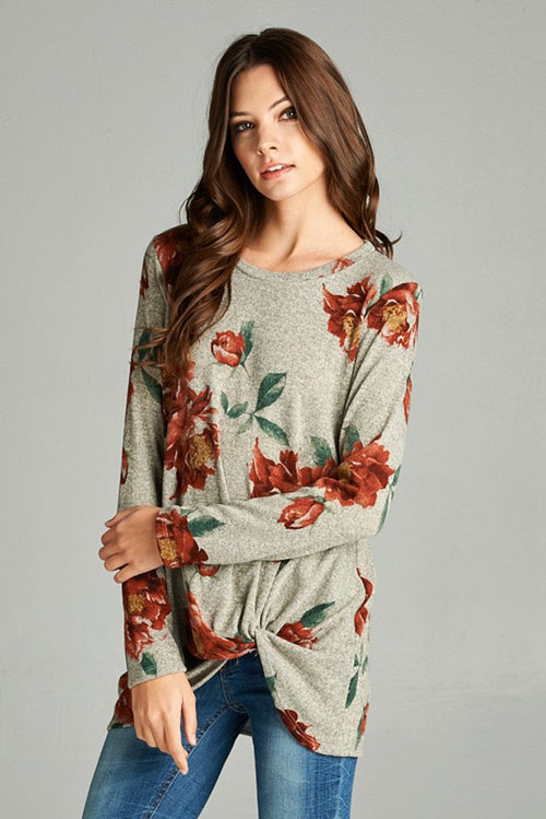 Floral Loose Fit Shirt - Mocha