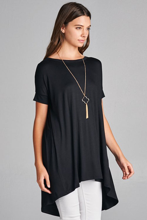 Amy High-Low Tunic Top : Black