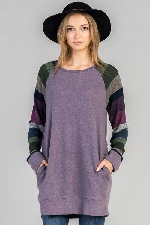 Aubrey Knit Baseball Top : Purple bean