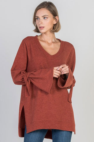 Triple Ruffled Sleeves Top : Orange