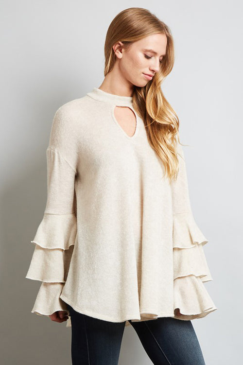 Triple Ruffled Sleeves Top : Cream