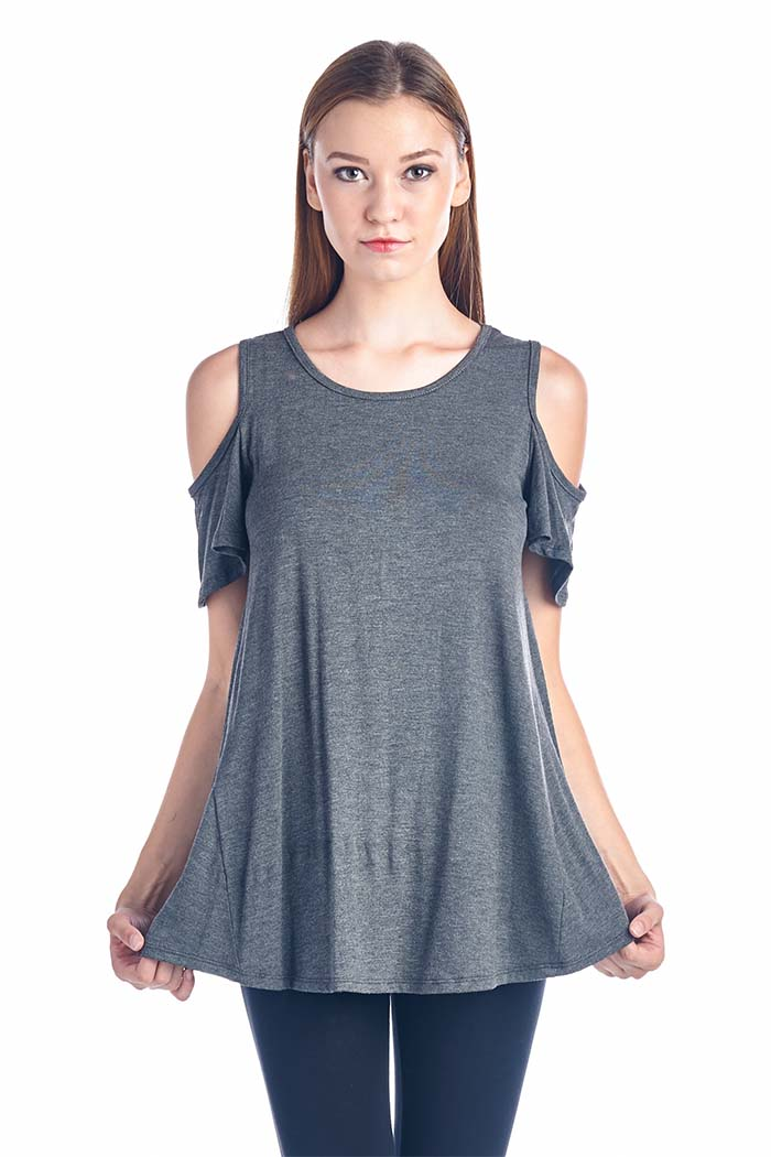 Cut Out Shoulder Solid Tunic Top