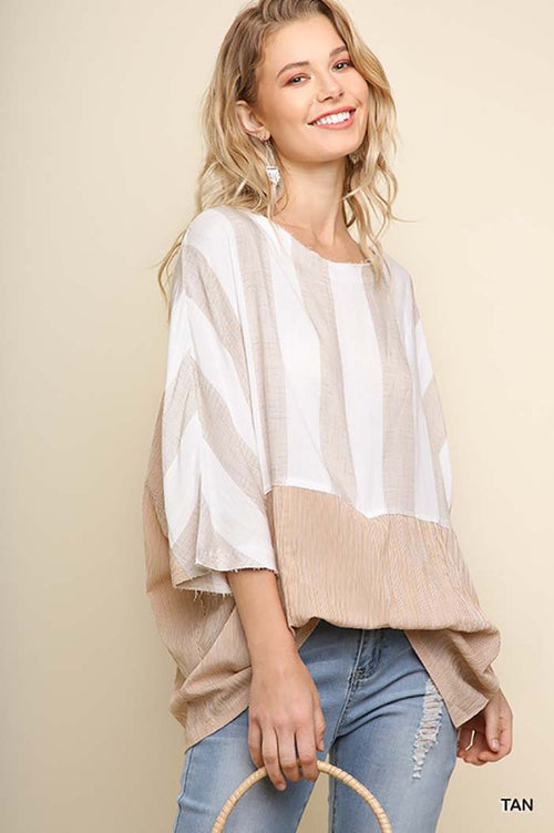 Serenity Stripe Dolman Top : Tan