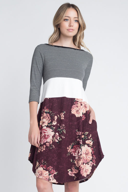 Isabel Floral Skirt Midi Dress : Burgundy