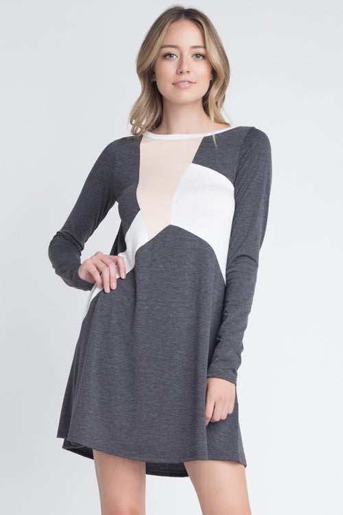 Piper Casual Swing Dress : Charcoal