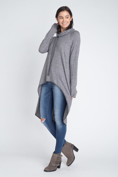 Kelly Cowl Neck Tunic Top : Charcoal