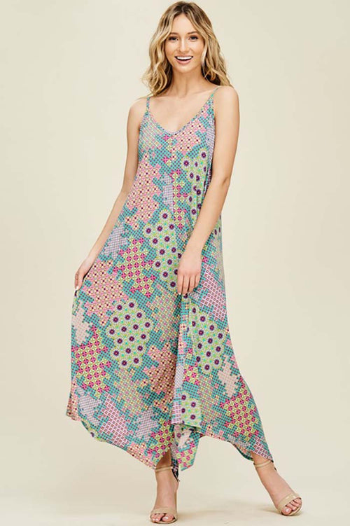 Paige Geometric Print Maxi Dress : Teal