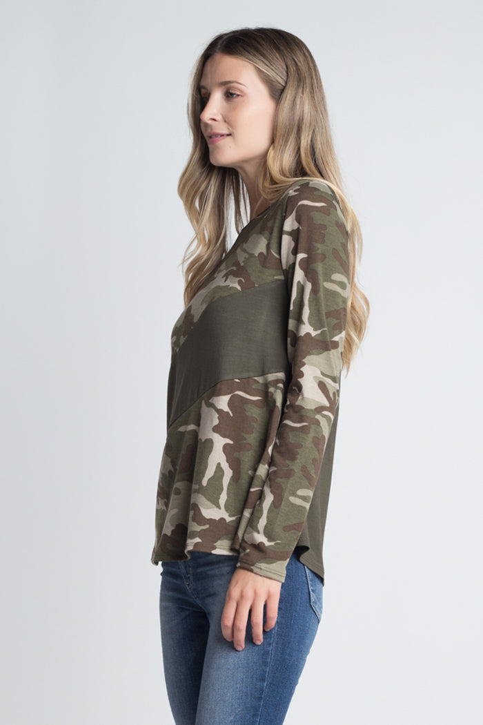 Ellie Diagonal Stripe Top : Camo