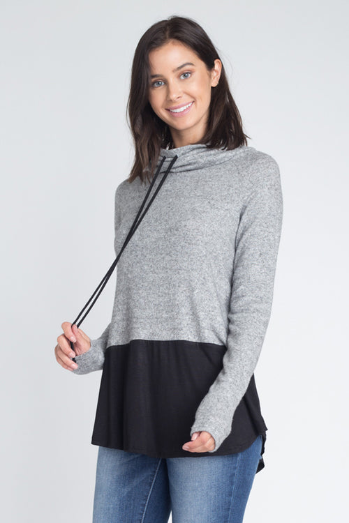 Veronica Cowl Neck Tunic Top : Heather Grey