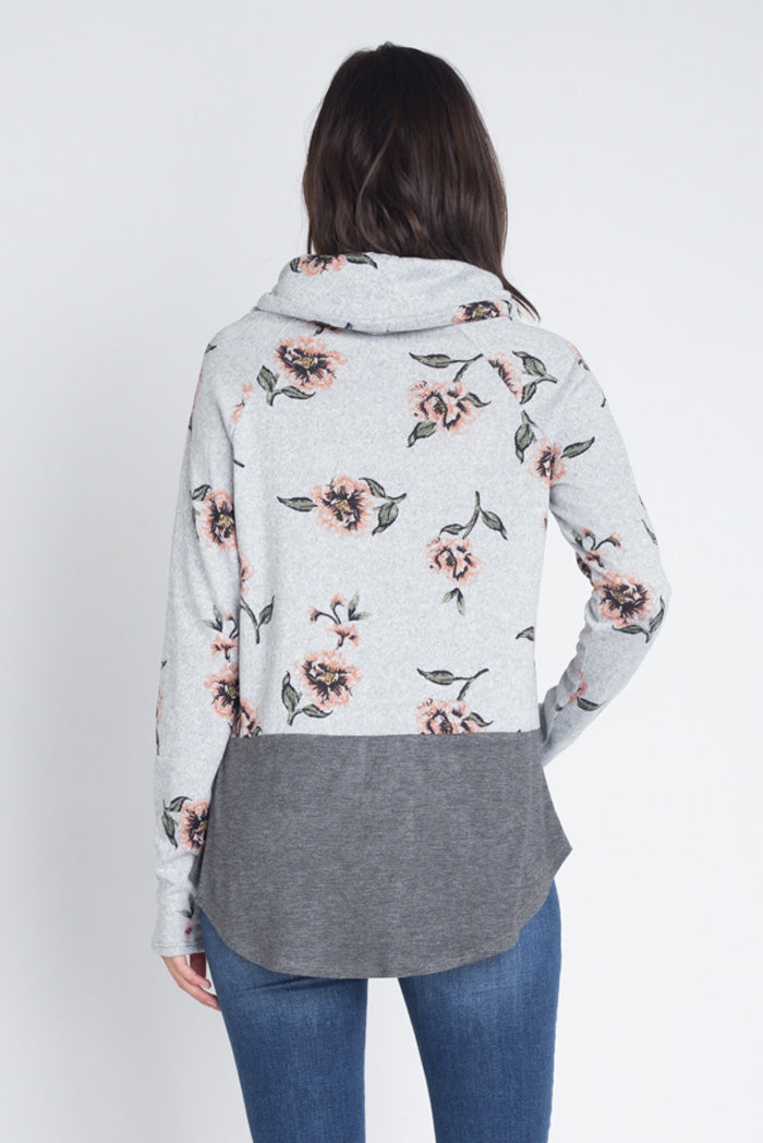 Chelsea Floral Tunic Top : Heather Grey