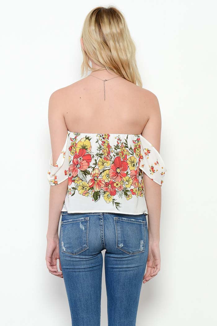 Floral Off Shoulder Top - Shirts - GOZON