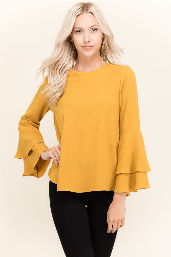 Mary Solid Ruffle Top : Mustard