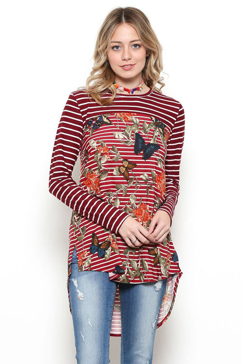 Karina Stripe and Butterfly Shirt : Burgundy