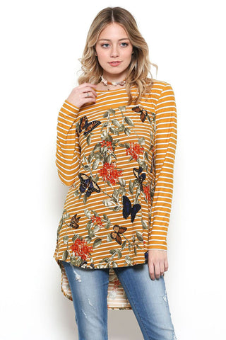 Karina Stripe and Butterfly Shirt : Mustard