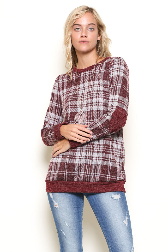 Kelsey Casual Plaid Top : Burgundy