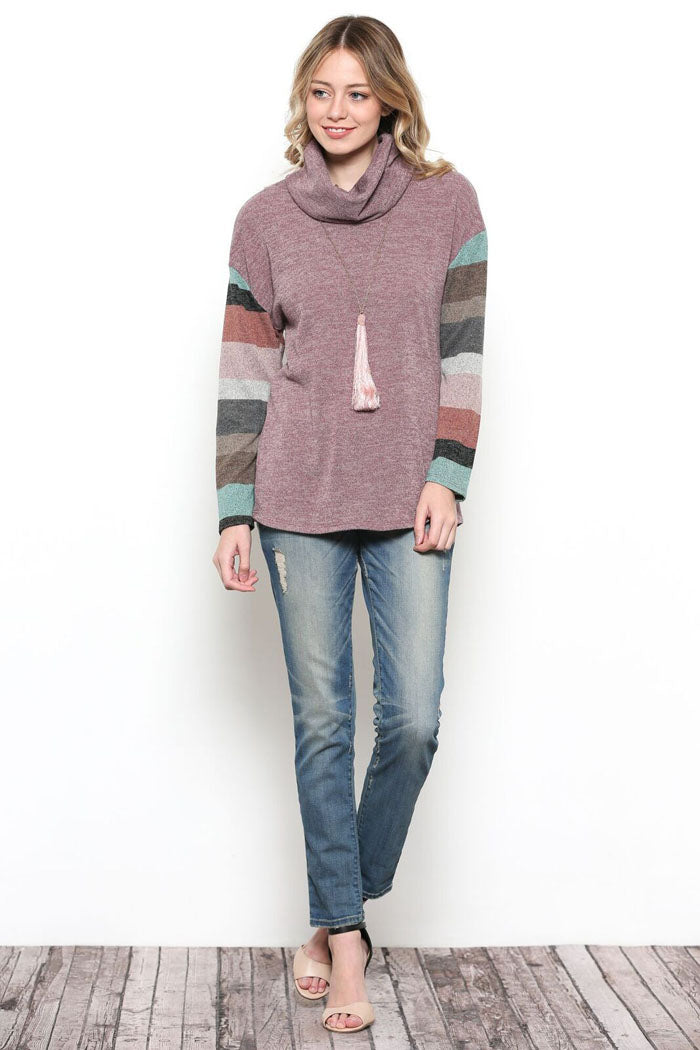 Grace Stripe Sleeve Top : Orchid