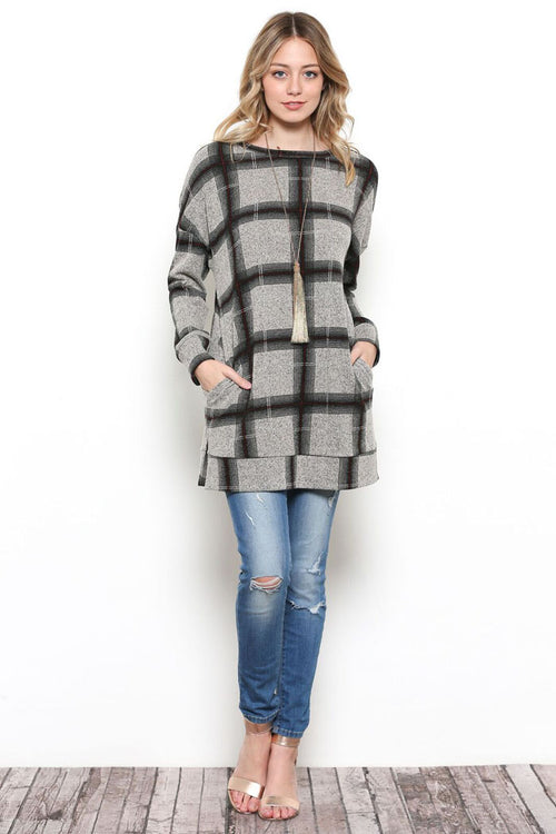 Ariana Plaid Tunic Top : Black