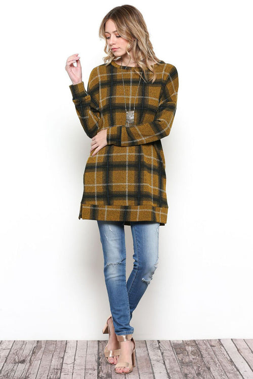 Ariana Plaid Tunic Top : Mustard