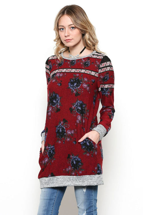 Esther Floral Tunic Top : Burgundy