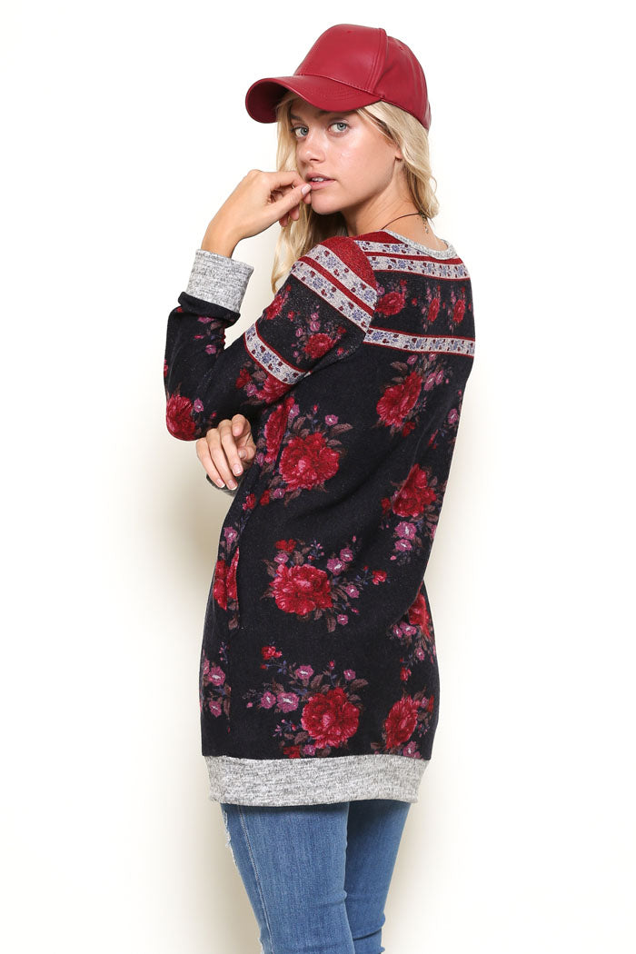 Esther Floral Tunic Top : Navy