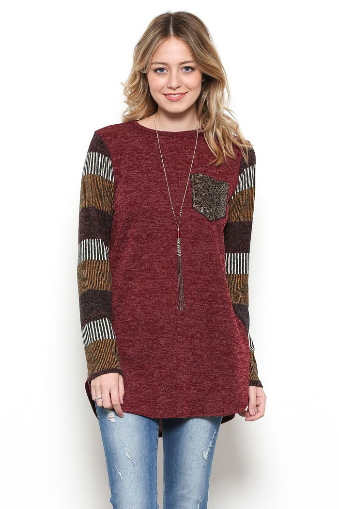Piper Color Block Top : Burgundy