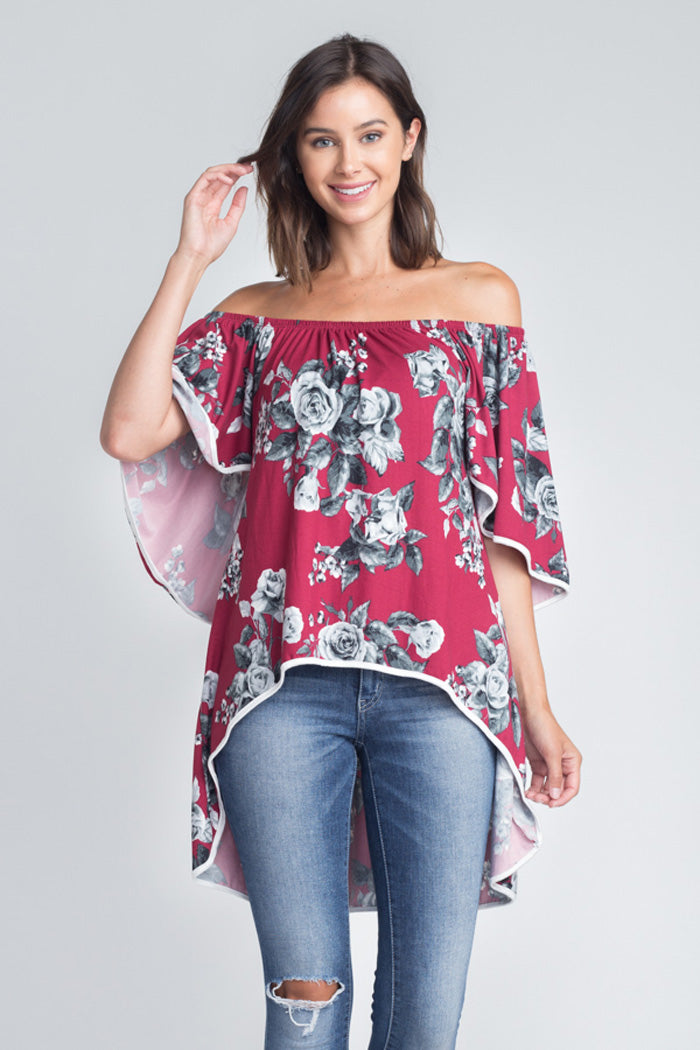 Taylor Off The Shoulder Top : Ruby/Grey