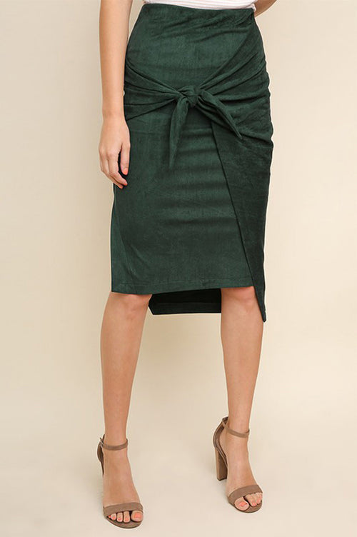 Tera High Waist Suede Midi Skirt : Green