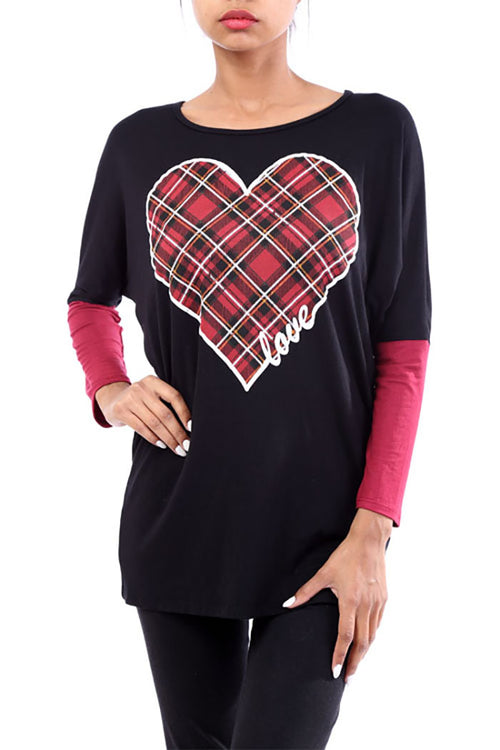 Plaid Heart Patch Long Sleeve Top