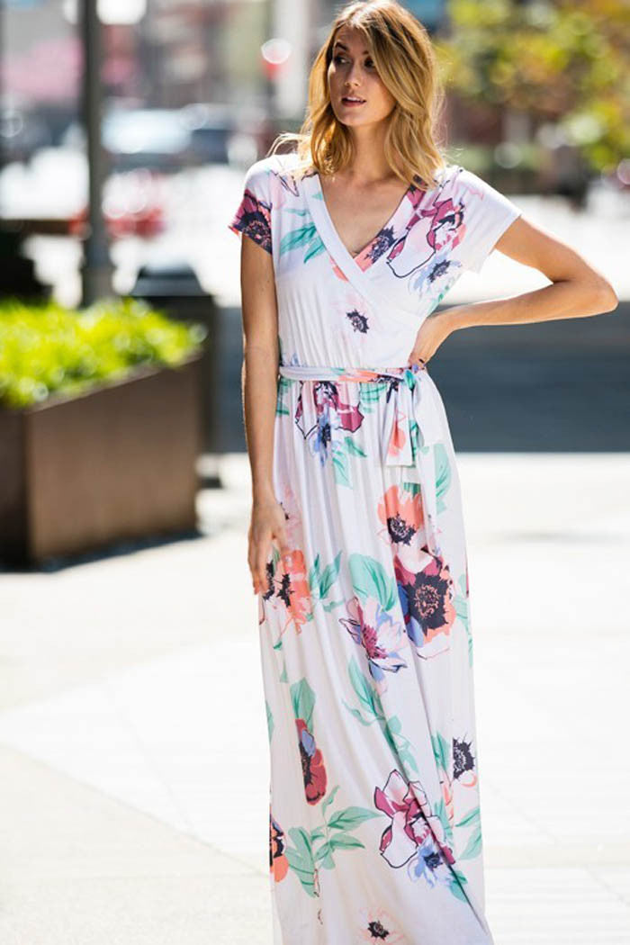 Pastel Floral Maxi Dress - maxi - GOZON