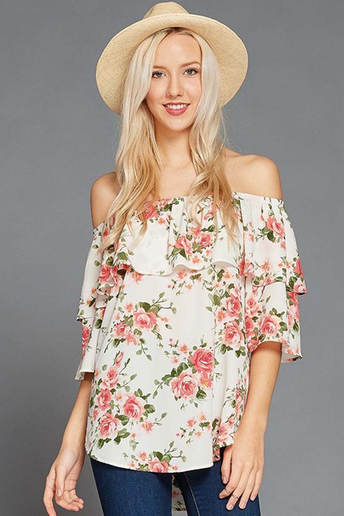 GOZON Women s Ruffle Overlay and Floral Printed Off Shoulder Top ... 5e4207643e