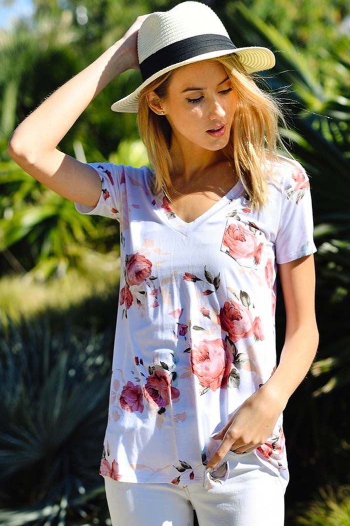 Pretty Floral Top - Shirts - GOZON