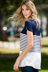 Color Block and Stripe Top - shirts-pre - GOZON