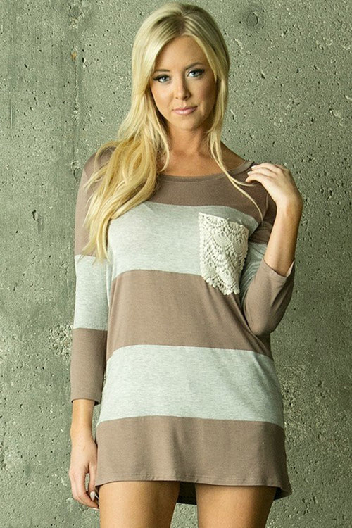 Crochet Pocket Top - Mocha