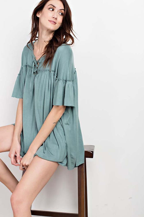 Bella Ruffle Lace Up Tunic Top : Wormwood
