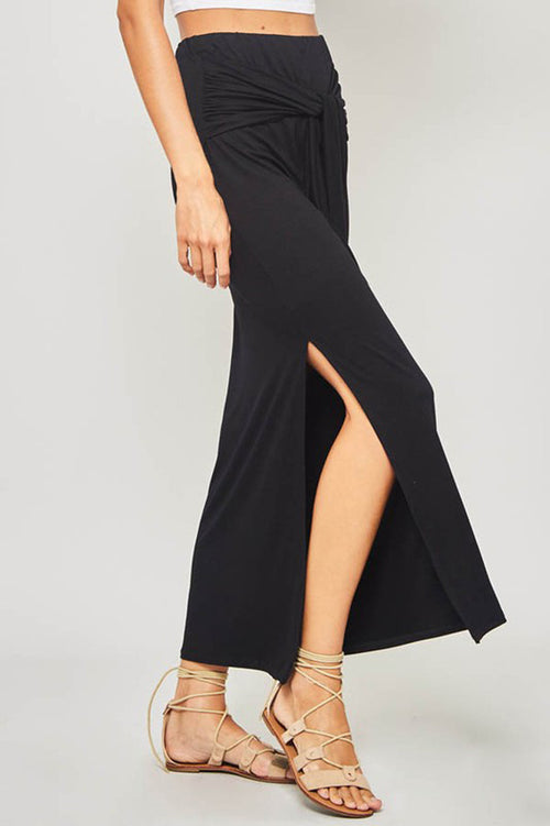 Wendy Knot Waist Knit Maxi Skirt : Black
