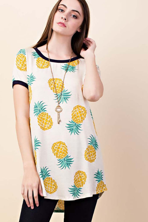 Ella Pineapple Print Tunic Top : Yellow