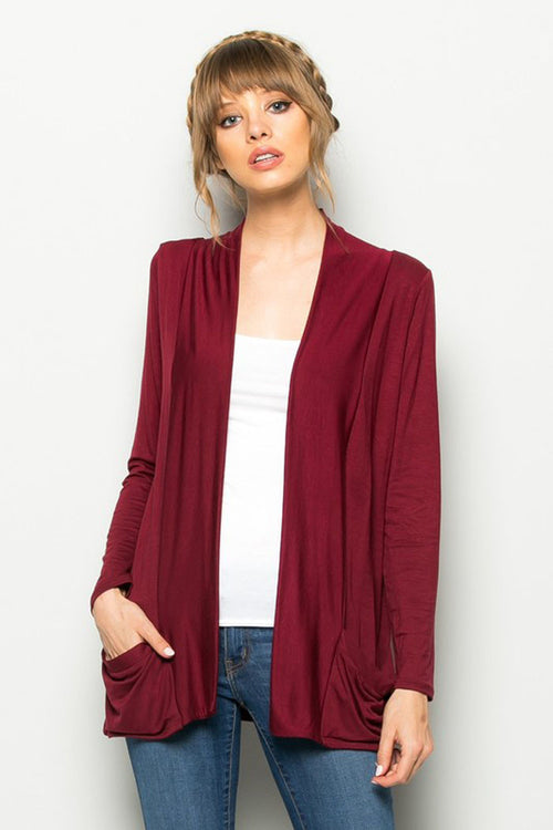 Solid Cardigan with Pockets : Burgundy