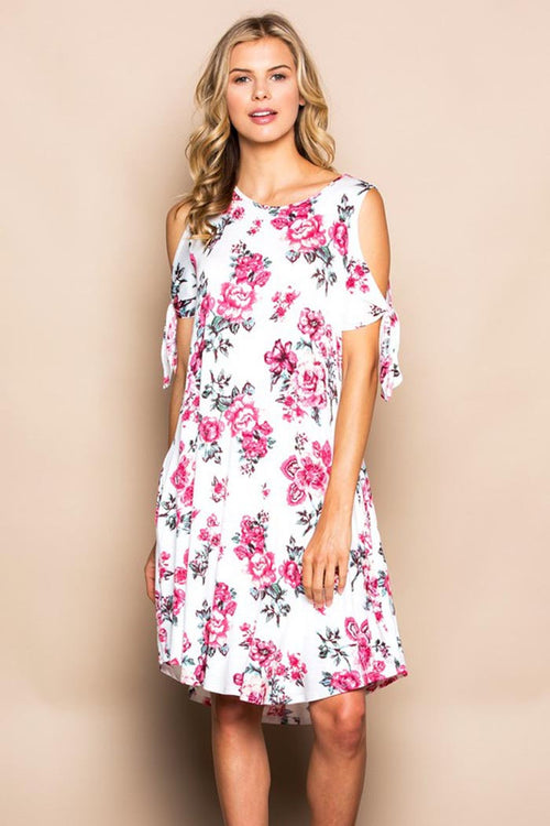 Floral Tie Sleeve Dress - MIDI - GOZON