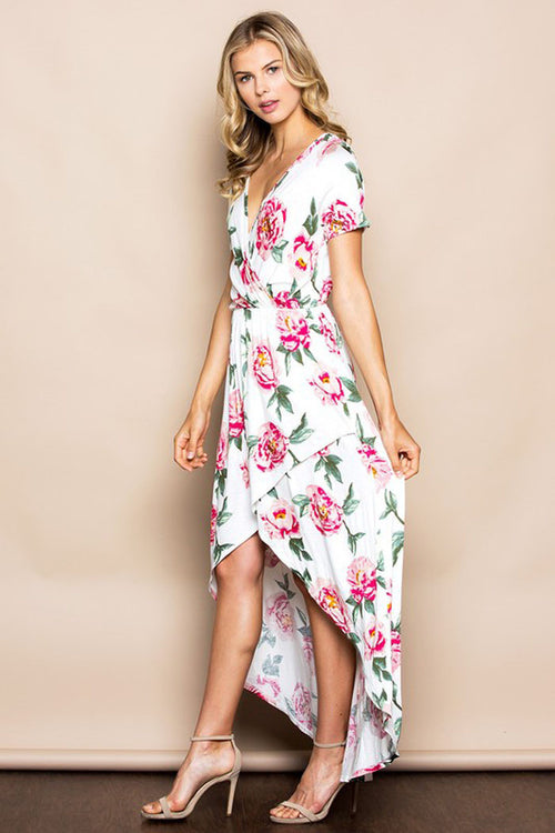 Floral Wrapped Maxi Dress - maxi - GOZON