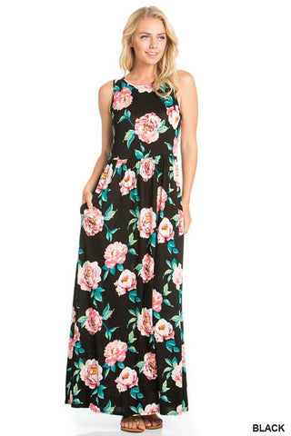 Tiffany Floral Swing Dress : Navy/Fuchsia