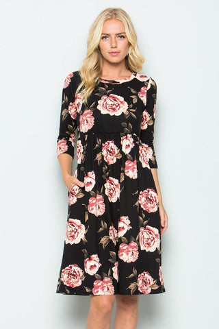 Maria Floral Swing Dress : Latte