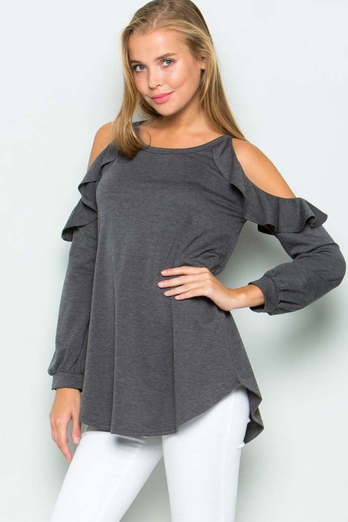 Ruffled Cold Shoulder Top : Charcoal
