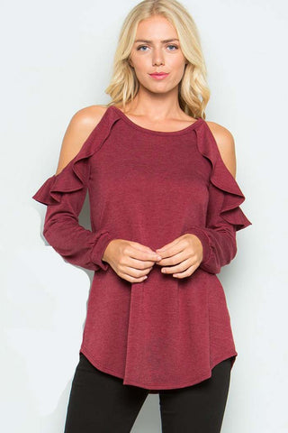 Ruffled Cold Shoulder Top : Burgundy