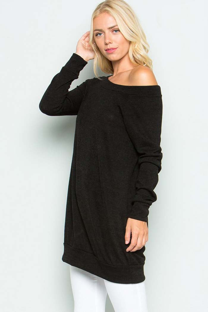 Convertible Solid Tunic Top : Black